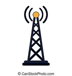 simbolo, antenna, linee, telecomunicazione, blu