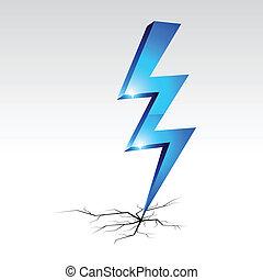 simbolo., avvertimento, elettricità