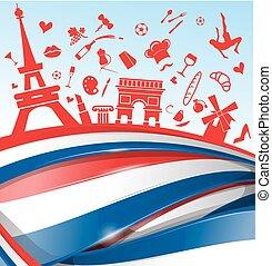 simbolo, bandiera, fondo, francia