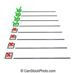 simbolo, bianco, elenco, sopra, assegno