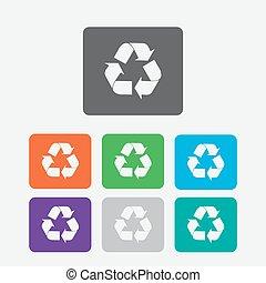simbolo., bottoni, vettore, riciclare, icon., squadre, rotondo