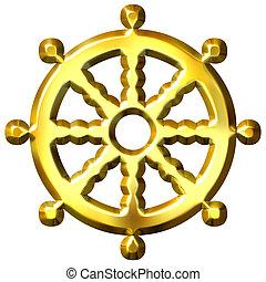 simbolo, buddismo, dorato, dharma, 3d, ruota