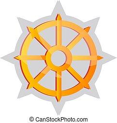 simbolo, buddista, giallo, vettore, illustrazione, fondo, bianco