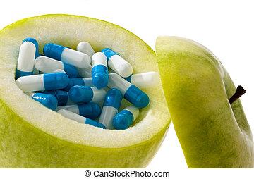 simbolo, capsules., tavolette, mela, vitamina