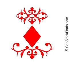 simbolo, carta da gioco, diamanti