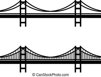 simbolo, cavo sospensione, nero, metallo, ponte