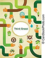 simbolo, -, ecologia, sfondo verde, mani, pensare
