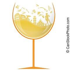 simbolo, elemento, vetro, bianco, vino italiano
