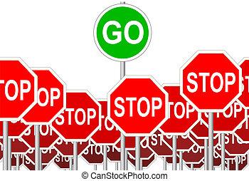 simbolo, fermata, isolato, segno, segni, andare, progresso