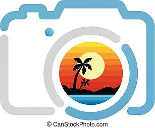 simbolo, fotografia, segno, macchina fotografica, icona, spiaggia