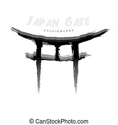 simbolo, hand-drawn, calligraphy., giappone, cancello, astratto