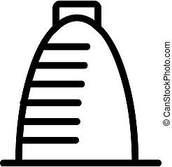 simbolo, icona, illustrazione, contorno, grattacielo, vector., isolato