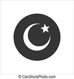 simbolo., icona, islam, fondo, stella, luna, isolato, bianco