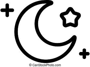simbolo, icona, vector., isolato, luna, stella, illustrazione, contorno