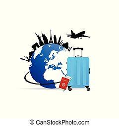 simbolo, illustrazione, borsa, vettore, globo, viaggiare
