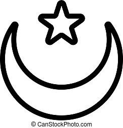 simbolo, illustrazione, isolato, stella, icona, vector., luna, contorno