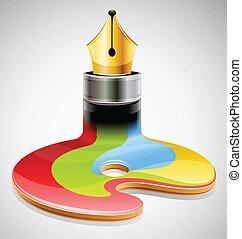 simbolo, inchiostro, arte, visuale, penna