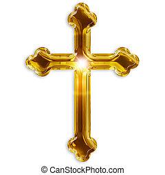 simbolo, isolato, crocifisso, fondo, bianco, religioso