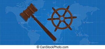 simbolo, legge, direzione, regolazione, mare, barca, internazionale, ruota, accordo, martelletto, martello