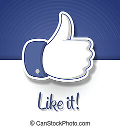 simbolo, like/thumbs, su, icona