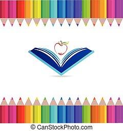 simbolo, logotipo, educazione, mela, libro