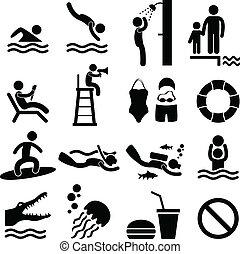 simbolo, mare, nuoto, spiaggia, stagno, icona