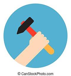 simbolo, martello, mano