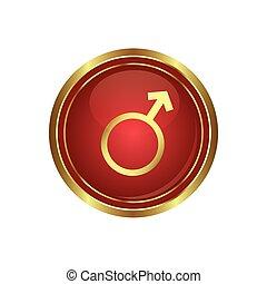 simbolo maschio, bottone