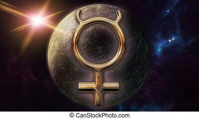 simbolo mercurio, planet., interpretazione, zodiaco, oroscopo, 3d
