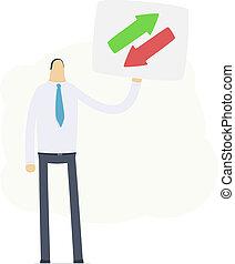 simbolo, mostra, direttore, scambio