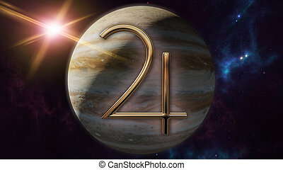 simbolo oroscopo, planet., interpretazione, giove, zodiaco, 3d