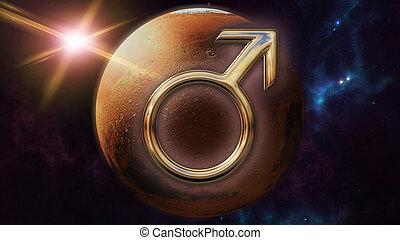 simbolo oroscopo, planet., interpretazione, marte, zodiaco, 3d