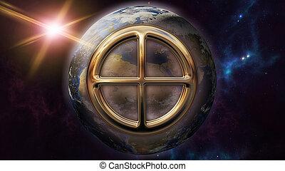 simbolo oroscopo, planet., interpretazione, terra, zodiaco, 3d