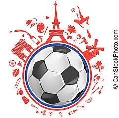 simbolo, palla calcio, francia