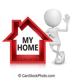 simbolo, persona, casa, 3d