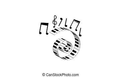 simbolo, pianoforte, musica, note., tastiera