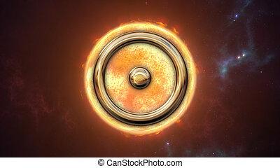 simbolo, planet., interpretazione, zodiaco, oroscopo, sole, 3d