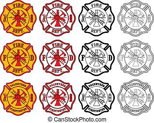 simbolo, pompiere, croce