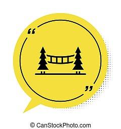 simbolo., ponte sospeso, icona, capilano, bianco, bolla, canada, vancouver, giallo, vettore, discorso, fondo., isolato, nero