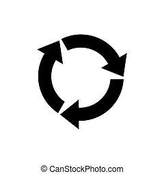 simbolo, reload, vector., rotazione, o, icona