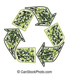 simbolo ricicla, vettore, foglie