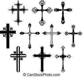 simbolo, set, croce