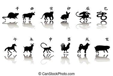 simbolo, set, silhouette, anno