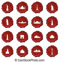 simbolo, sigillo, esso, illustrazione, cera, viaggiare