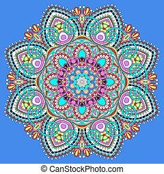 simbolo, spirituale, indiano, decorativo, cerchio, mandala, loto, flusso