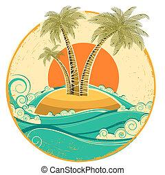 simbolo, struttura, tropicale, carta, vecchio, sole, island., vettore, marina, vendemmia