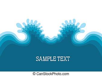 simbolo, testo, fondo, mare, paesaggio, waves.