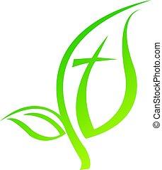 simbolo, vettore, croce, logotipo, design., icona religiosa, foglia