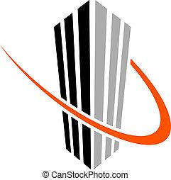 simbolo, vettore, grattacielo