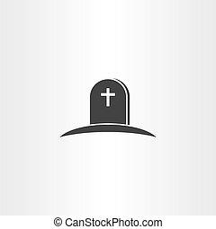 simbolo, vettore, morte, icona, tomba